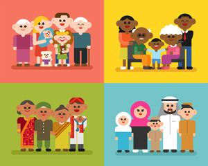 A set of members of various racial family members. flat design style vector graphic illustration.
