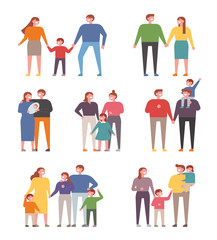 Family character set of various members. flat design style vector graphic illustration.