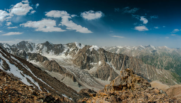 Panorama of mountains in Kyrgyzstan, Tian Shan mountains, photo from the top of the Pik Uchitel (4545m) - Ala Archa National Park