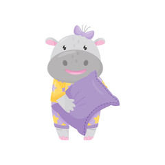 Cute adorable hippo with a bow standing and holding pillow, lovely behemoth animal cartoon character vector Illustration