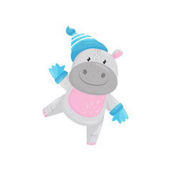 Cute adorable hippo wearing blue knitted hat and gloves, lovely behemoth animal cartoon character vector Illustration