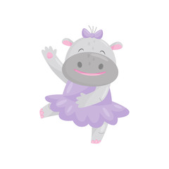 Cute happy hippo with a bow in a purple dress, lovely behemoth animal cartoon character vector Illustration