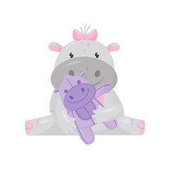 Cute adorable hippo with a pink bow sitting and playing with toy, lovely behemoth animal cartoon character vector Illustration