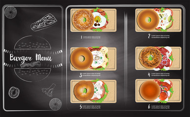 Bagels menu with chalkboard background , Bakery collection