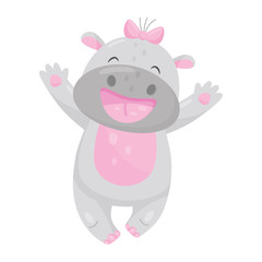 Cute smiling hippo with a pink bow having fun, lovely behemoth animal cartoon character vector Illustration