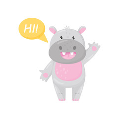 Cute adorable hippo saying Hi and waving his hand, lovely behemoth animal cartoon character vector Illustration