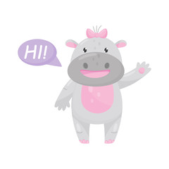 Cute adorable hippo with a pink bow saying Hi and waving hand, lovely behemoth animal cartoon character vector Illustration