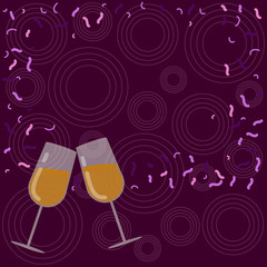 Design business concept Empty template copy space text for Ad website isolated. Filled Wine Glass Toasting for Celebration with Scattered Confetti Vector