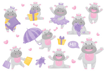 Cute adorable hippo girl with bow in different situations set, lovely happy smiling behemoth animal cartoon character vector Illustration