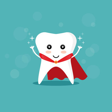 Super tooth hero with red cape. Concept of white and healthy smile. Vector illustration in flat design. .