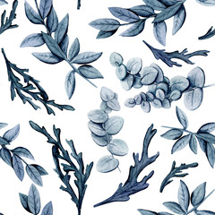 Seamless Pattern of Watercolor Blue and Gray Leaves