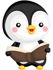 a vector of a cute penguin reading book