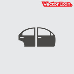Car door icon isolated sign symbol and flat style for app, web and digital design. Vector illustration.
