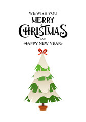Christmas tree in winter with snow cartoon vector card for design