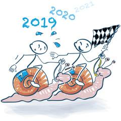 Strichmännchen beim Schneckenrennen in das neue Jahr