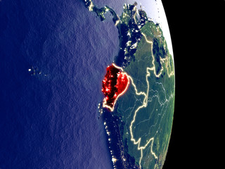 Satellite view of Ecuador at night with visible bright city lights. Extremely fine detail of the plastic planet surface.