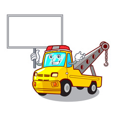 Bring board Cartoon tow truck isolated on rope