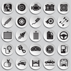 Car parts and repair icon set on plates background for graphic and web design, Modern simple vector sign. Internet concept. Trendy symbol for website design web button or mobile app.
