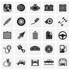 Car parts and repair icon set on squares background for graphic and web design, Modern simple vector sign. Internet concept. Trendy symbol for website design web button or mobile app.