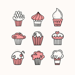 Vector set of cupcakes. Muffins, cakes. Hand-drawn. Doodle style. 9 pieces of desserts.