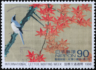 Beautiful japanese painting on postages stamp