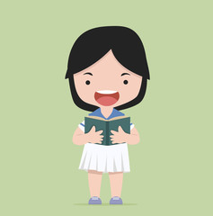 Small Girl Reading A Book vector