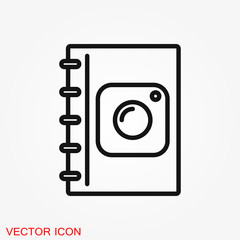 Photo album vector icon on white background.