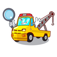 Detective truck tow the vehicle with mascot