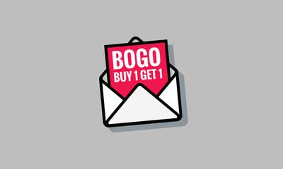 Buy One Get One BOGO Discount Offer Sale Poster Design Written Inside an Letter Envelope