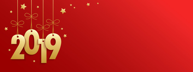 2019 on red banner with gold stars