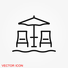 Beach icon vector of vacation and tourism, summer symbol
