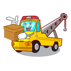 With box truck tow the vehicle with mascot