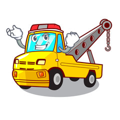 Successful truck tow the vehicle with mascot