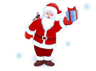 Сartoon Santa Claus with gift box in his hand and bullfinch on his shoulder