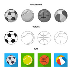 Vector illustration of sport and ball sign. Set of sport and athletic stock vector illustration.