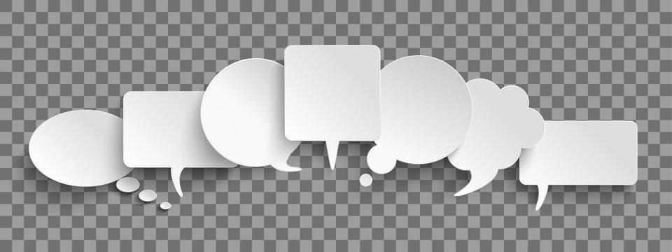 White Paper Speech Balloons Header Transparent