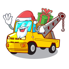 Santa with gift tow truck for vehicle branding character