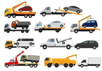 Tow truck vector towing car trucking vehicle transportation towage help on road illustration set of towed auto transport isolated on white background
