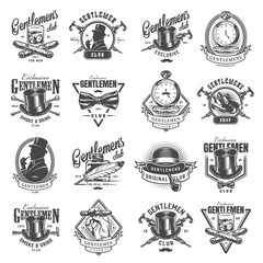 Vintage monochrome gentleman logos set