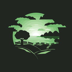 Silhouette tree on hill with bench .Negative space.flat design