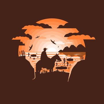 Wild west landscape. Western scene.Negative space illustration