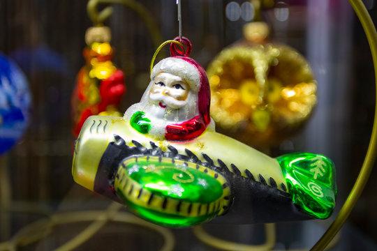 Vintage USSR Soviet Christmas tree toy santa claus on biplane decorations