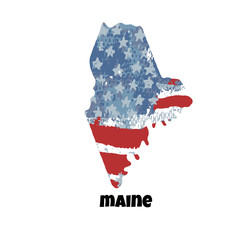 State of Maine. United States Of America. Vector illustration. Watercolor texture of USA flag.