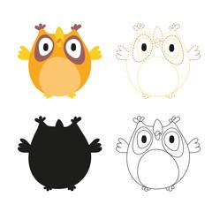 owl worksheet vector design for kid