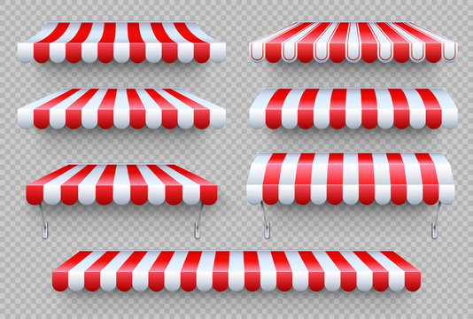 Stripe awning. Cafe tent, shop roof. Canopy sunshade for store window, outdoor market awnings vector set