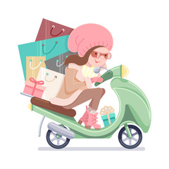Girl riding a scooter with shopping. Pastel colors on a white isolated background.