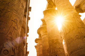 The Great Hall with sunflare, Karnak Temple, Egypt