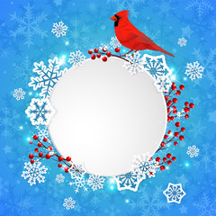Christmas banner with snowflakes and cardinal bird