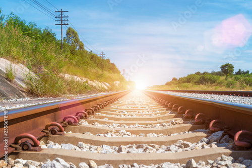 Travel and transportation background concept  Empty railway or