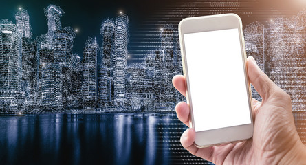 Wireless network connection technology in modern city. Working on mobile, e-commerce concept.